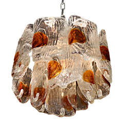 Mazzega 1970's Italian Glass Chandelier