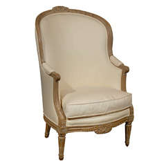 French Louis XVI Style Upholstered Carved Barrelback Bergère Chair, 19th Century