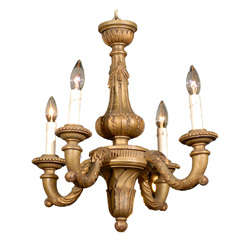 Turn of the Century French Carved Giltwood Four-Light Chandelier with Waterleaf