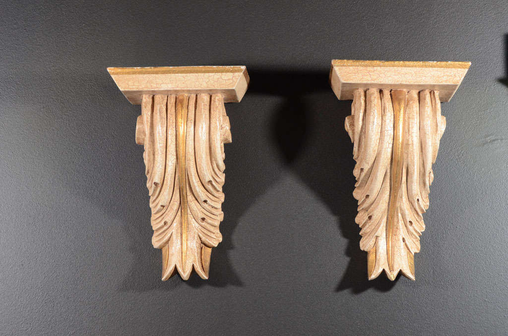 Hollywood Regency Pair of Architectural Baroque Style Corbels with Hand-Carved Design For Sale
