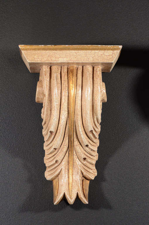 American Pair of Architectural Baroque Style Corbels with Hand-Carved Design For Sale
