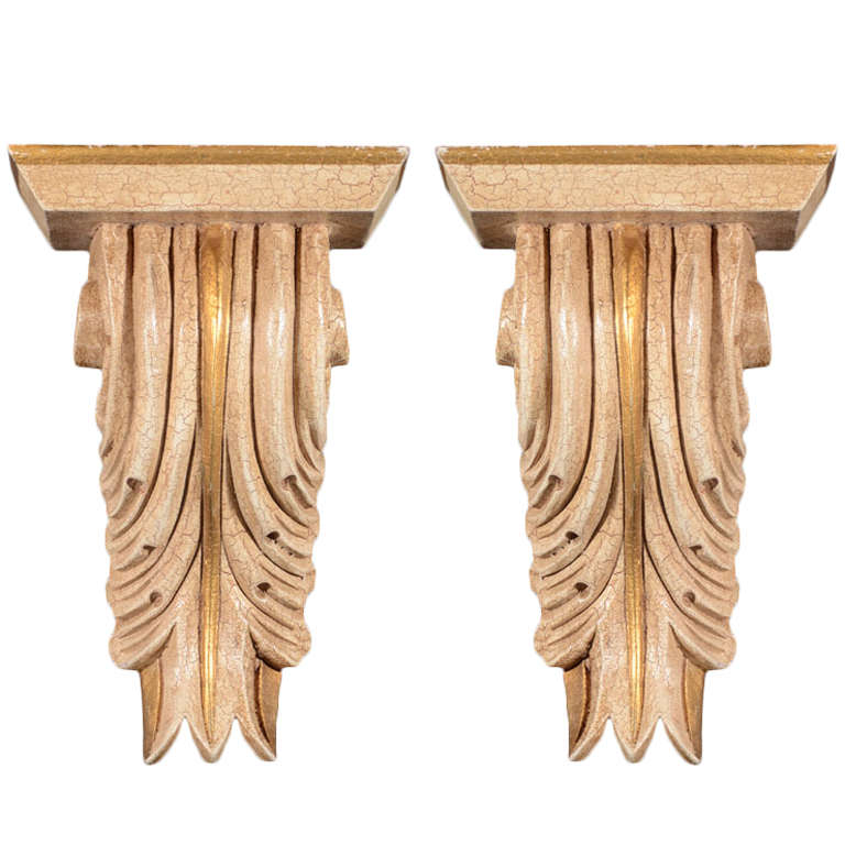 Pair of Architectural Baroque Style Corbels with Hand-Carved Design For Sale