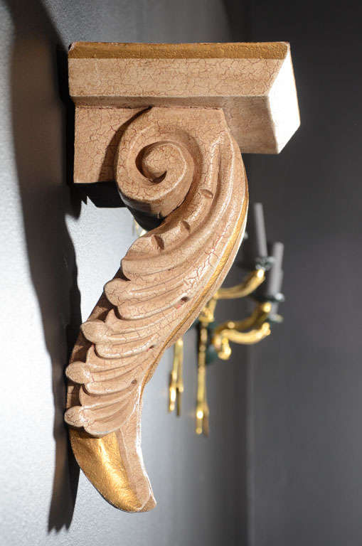Mid-20th Century Pair of Architectural Baroque Style Corbels with Hand-Carved Design For Sale