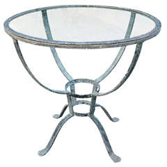 Addison Mizner Iron Table with Glass Top Outdoor Dining