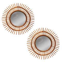 Pair of Chic Vintage Bamboo Circular Mirrors