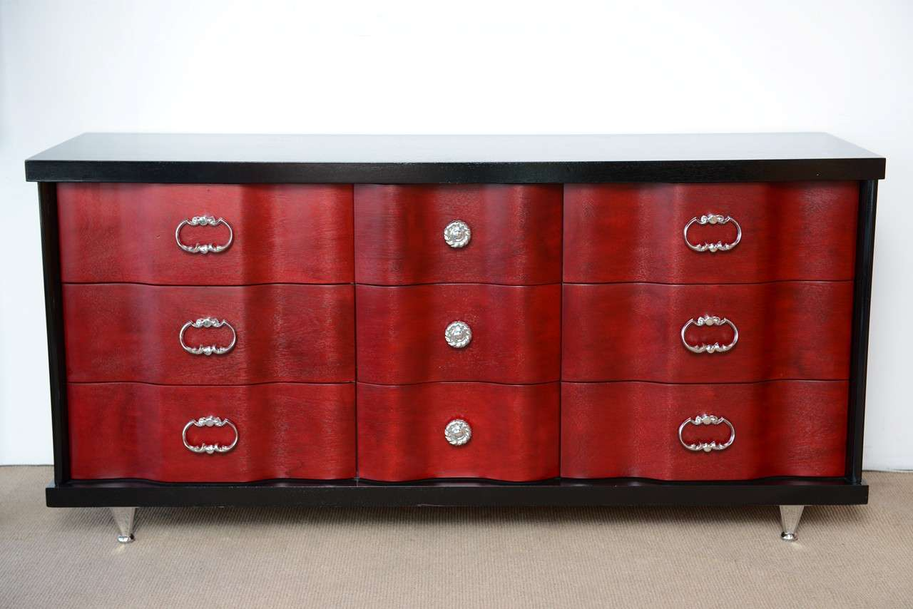 Mid Century Hollywood Regency Glamourous Dresser By Bassett Furniture 2