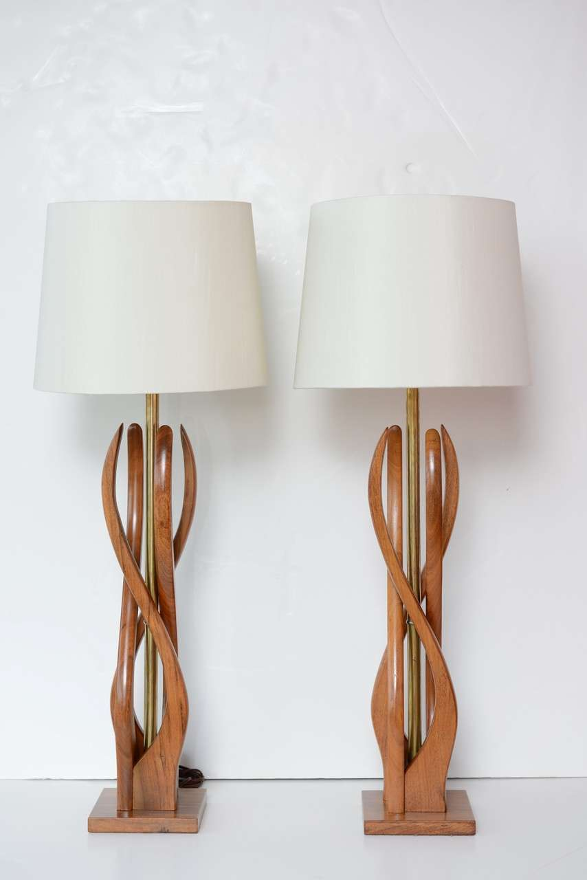 beautiful mid century modern danish style teak wood table lamps at