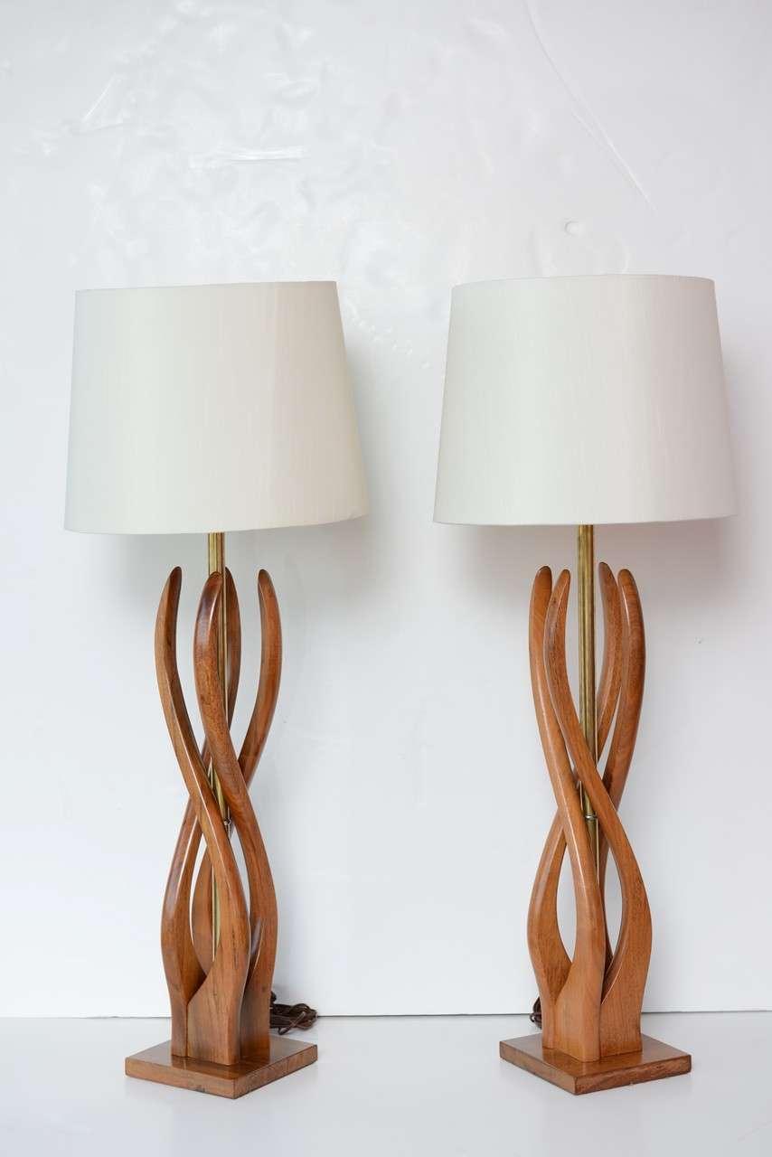 Beautiful Mid Century Modern Danish Style Teak Wood Table Lamps at ...