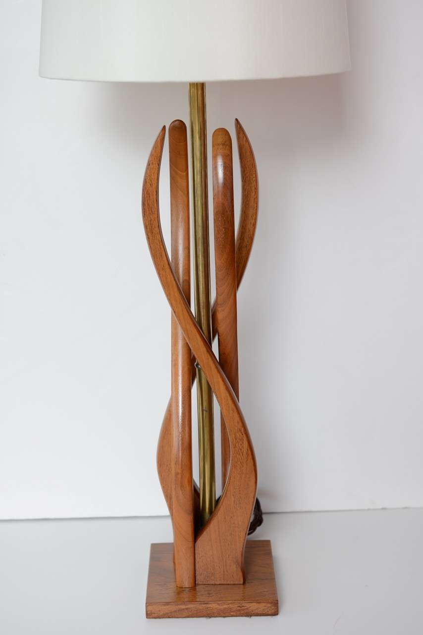 beautiful mid century modern danish style teak wood table lamps at