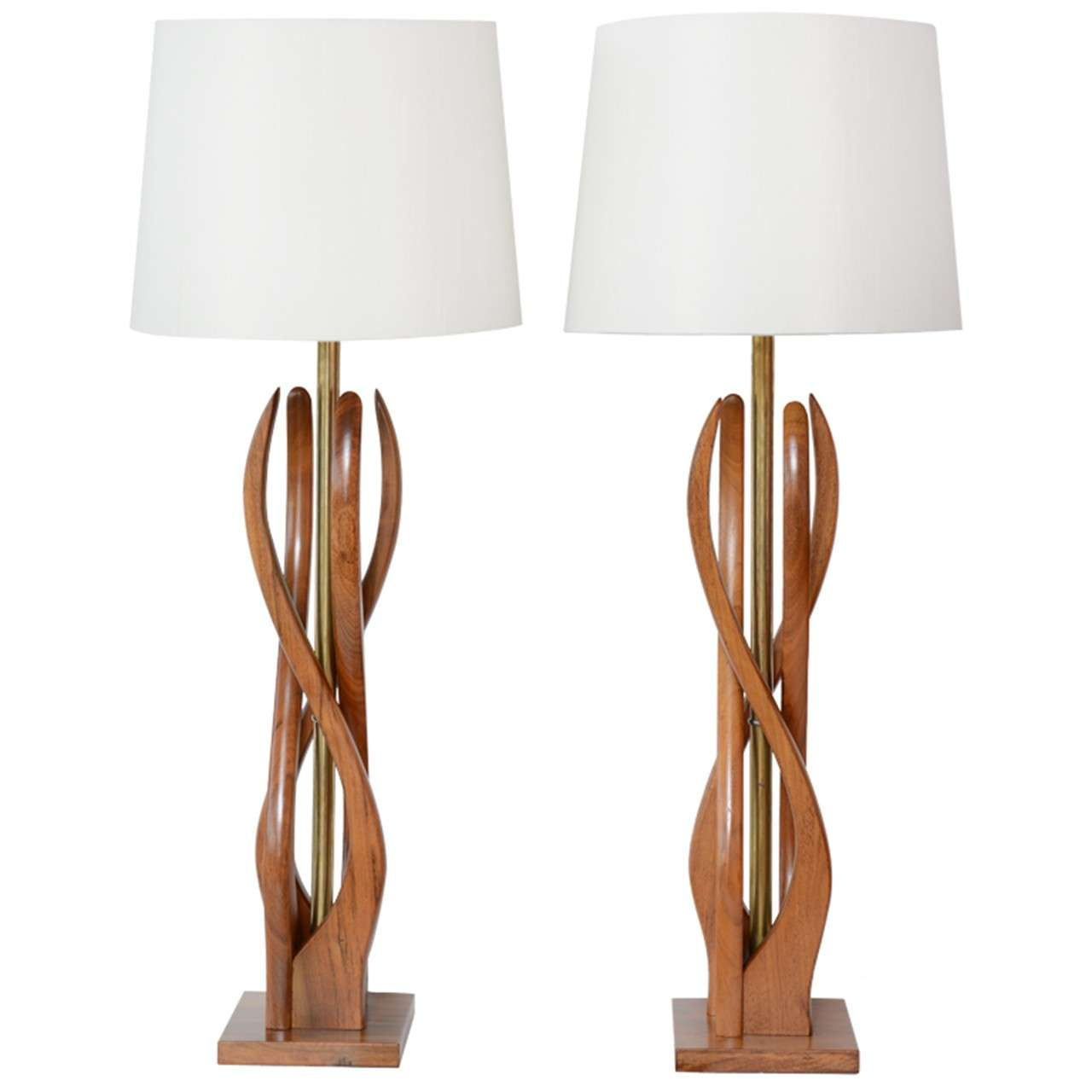 Beautiful Mid Century Modern Danish Style Teak Wood Table Lamps 1. Beautiful Mid Century Modern Danish Style Teak Wood Table Lamps at