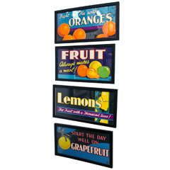 Group of Vintage English Framed Fruit Promotional Posters