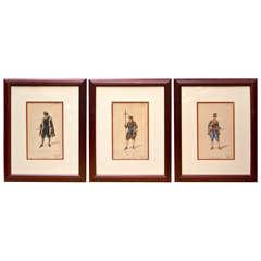 Set of 3 Framed Italian Opera Costume Renderings in Watercolor
