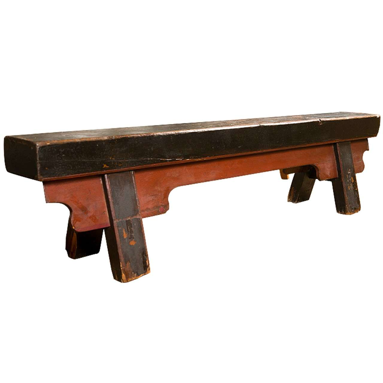 Chinese Painted Antique Elmwood Prayer Bench At 1stdibs