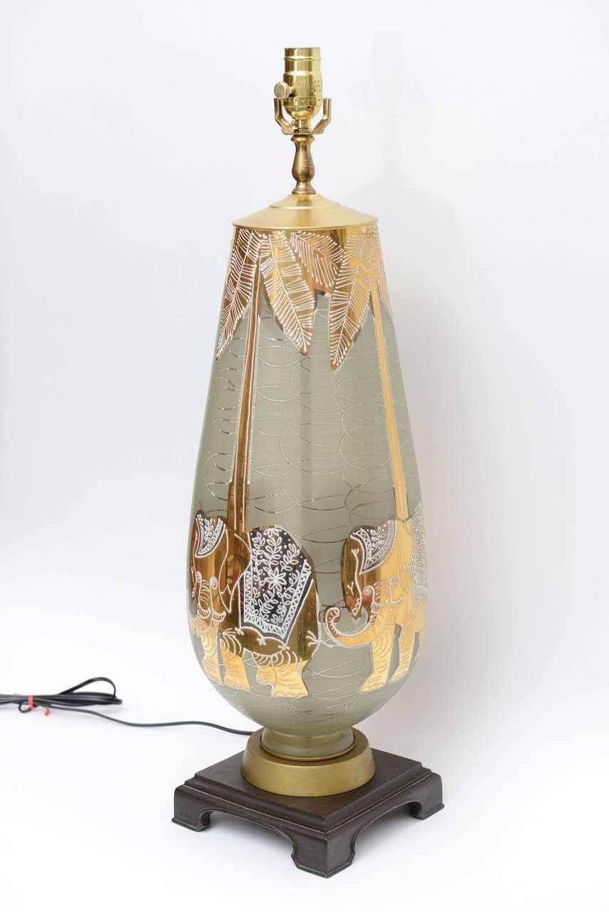 Hollywood Regency Fun Waylande Gregory Style Gilt Elephants Glass Table Lamp For Sale