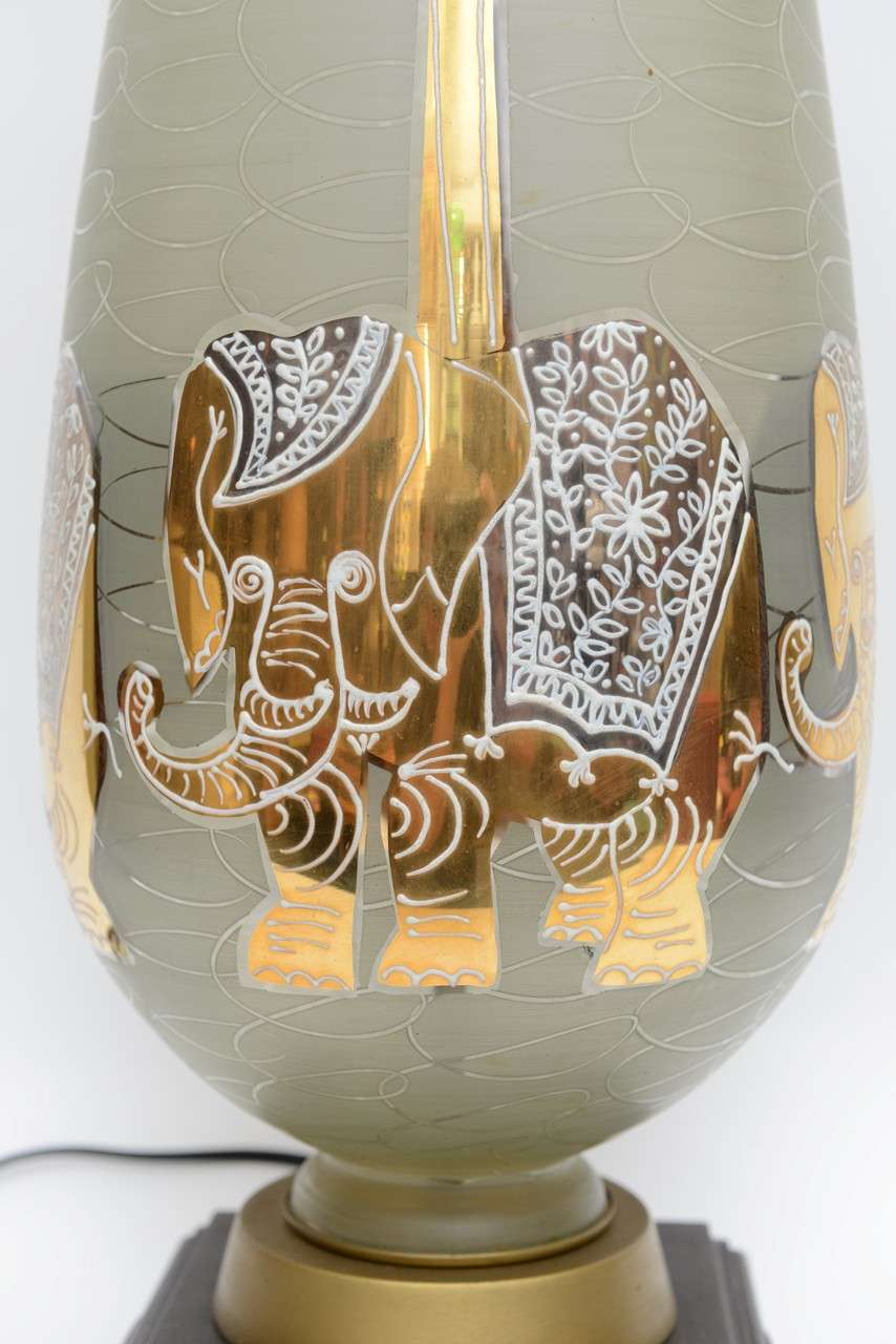 Mid-20th Century Fun Waylande Gregory Style Gilt Elephants Glass Table Lamp For Sale
