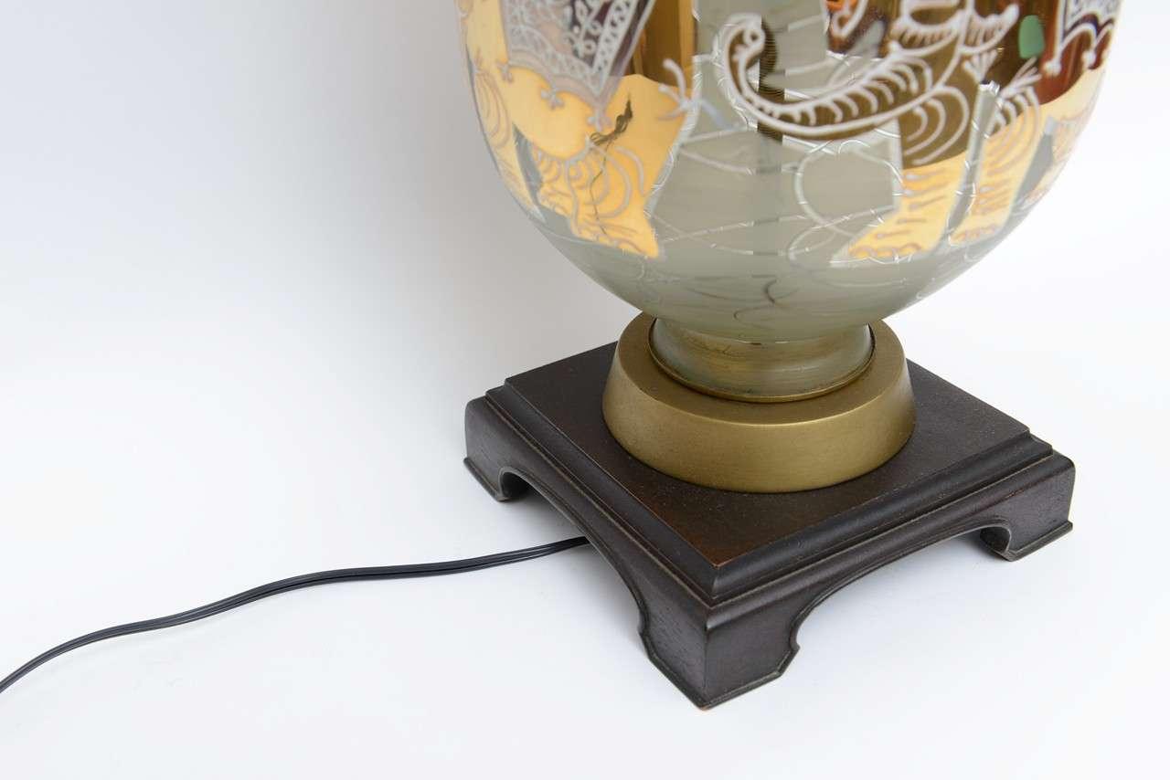 Enamel Fun Waylande Gregory Style Gilt Elephants Glass Table Lamp For Sale