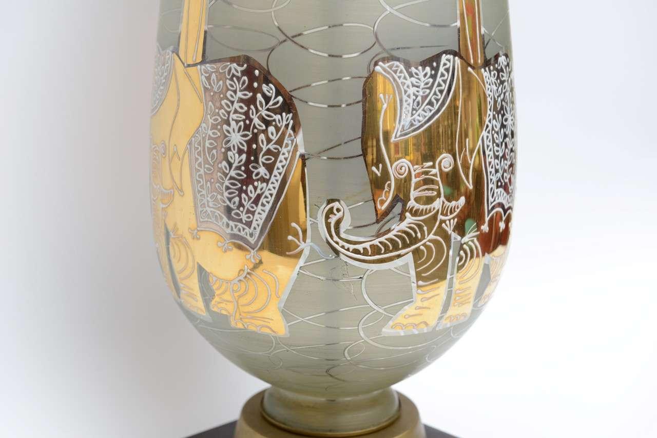 Fun Waylande Gregory Style Gilt Elephants Glass Table Lamp For Sale 1