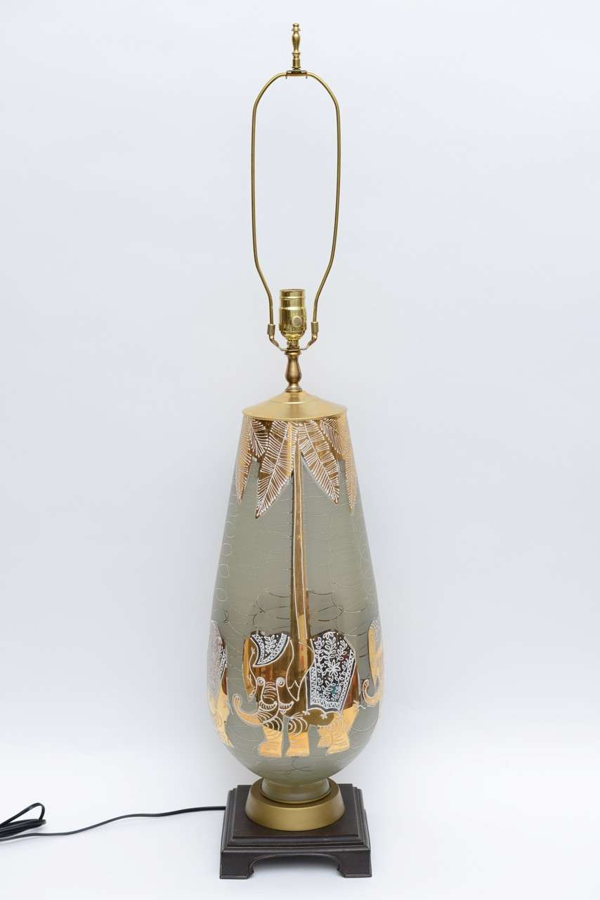 Fun Waylande Gregory Style Gilt Elephants Glass Table Lamp For Sale 2
