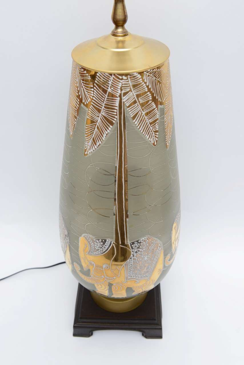 Fun Waylande Gregory Style Gilt Elephants Glass Table Lamp For Sale 3