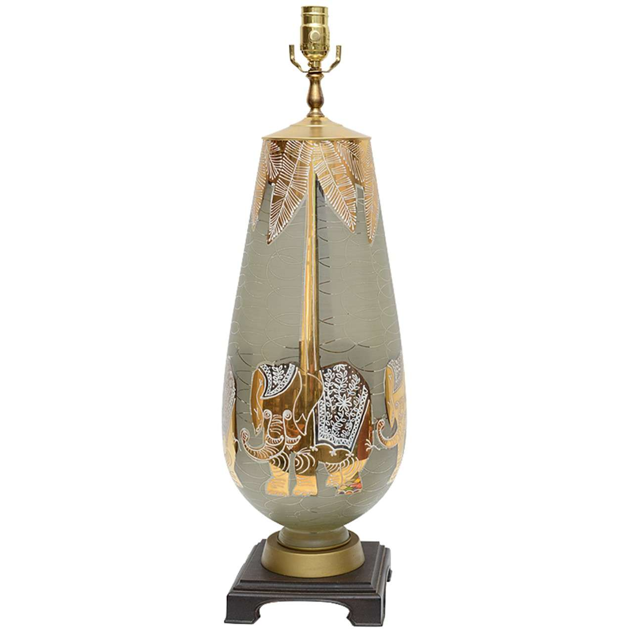 Fun Waylande Gregory Style Gilt Elephants Glass Table Lamp For Sale