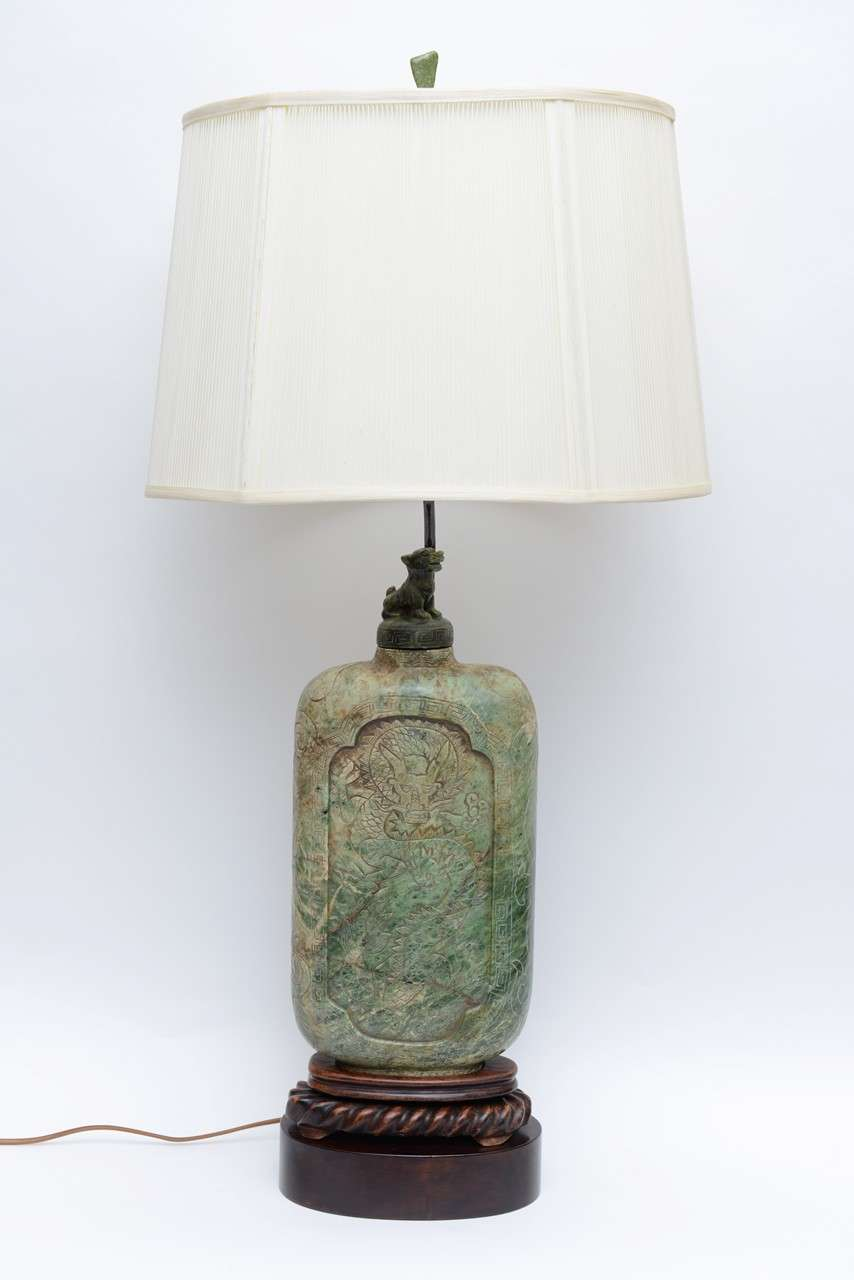 Chinese Extraordinary Antique Asian Carved Soapstone Table Lamp For Sale