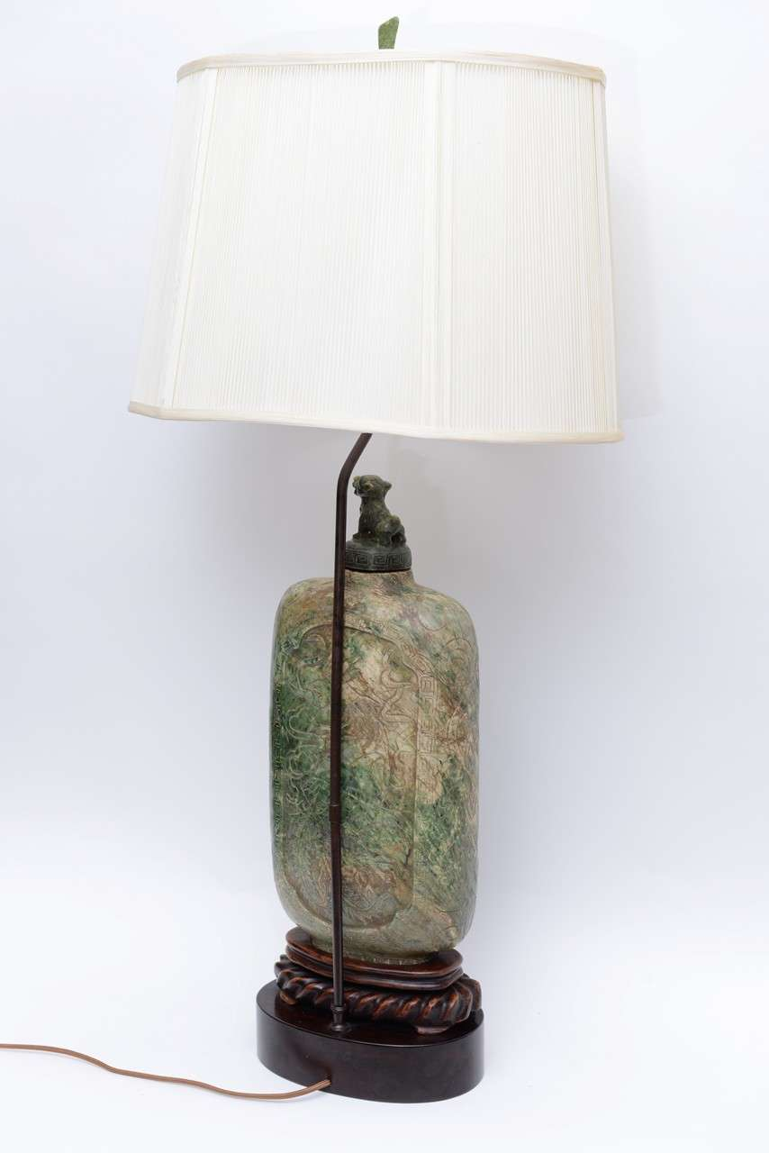 Extraordinary Antique Asian Carved Soapstone Table Lamp For Sale 5