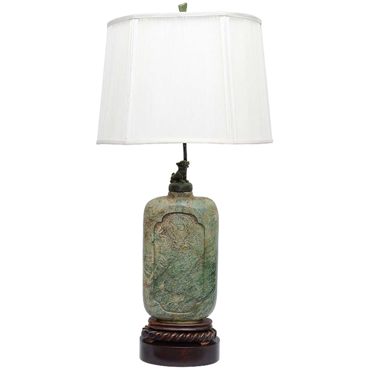 Extraordinary Antique Asian Carved Soapstone Table Lamp For Sale