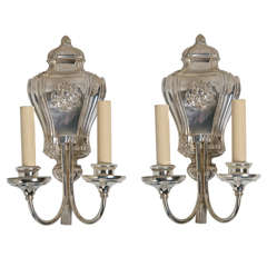 Pair of Caldwell Silverplated Sconces