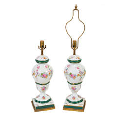 Pair of Hand-Painted porcelain lamps mounted on metal bases