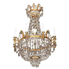 18th Century French Empire gilt bronze and crystal chandelier