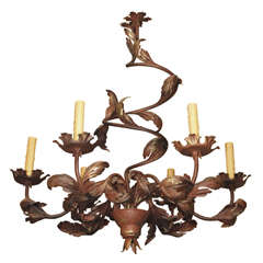 20th Century French rustic iron and tole chandelier