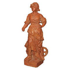 French Terra Cotta Female Statue, inscription INDUSTRIA