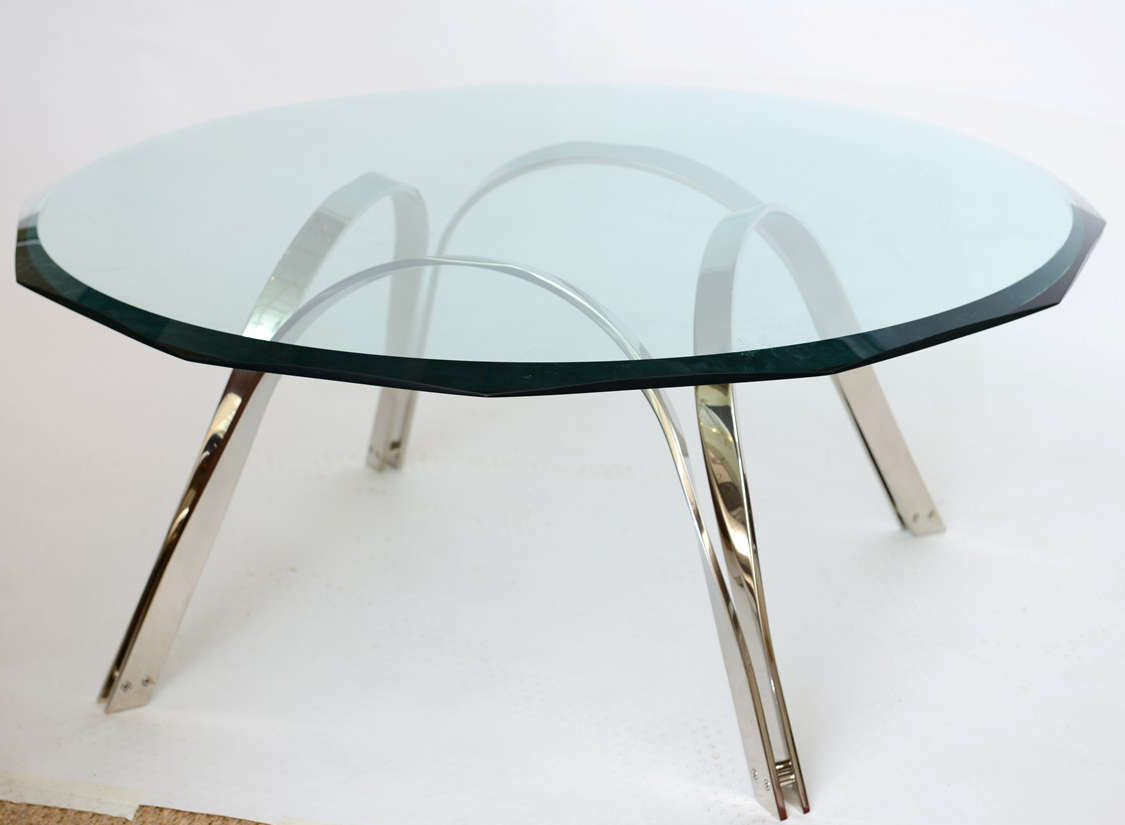 This wonderful nickel silver table in the style of Roger Sprunger for Dunbar