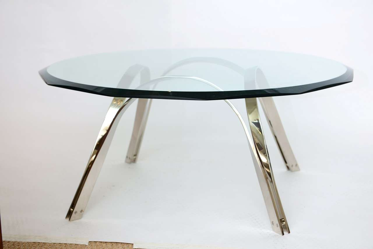 Mid-Century Modern Roger Sprunger Style  Sculptural Silver/Glass Cocktail Table For Sale