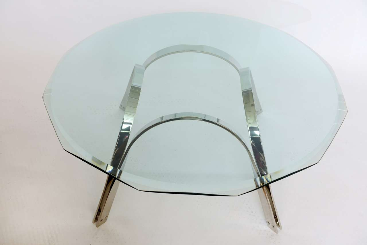 American Roger Sprunger Style  Sculptural Silver/Glass Cocktail Table For Sale