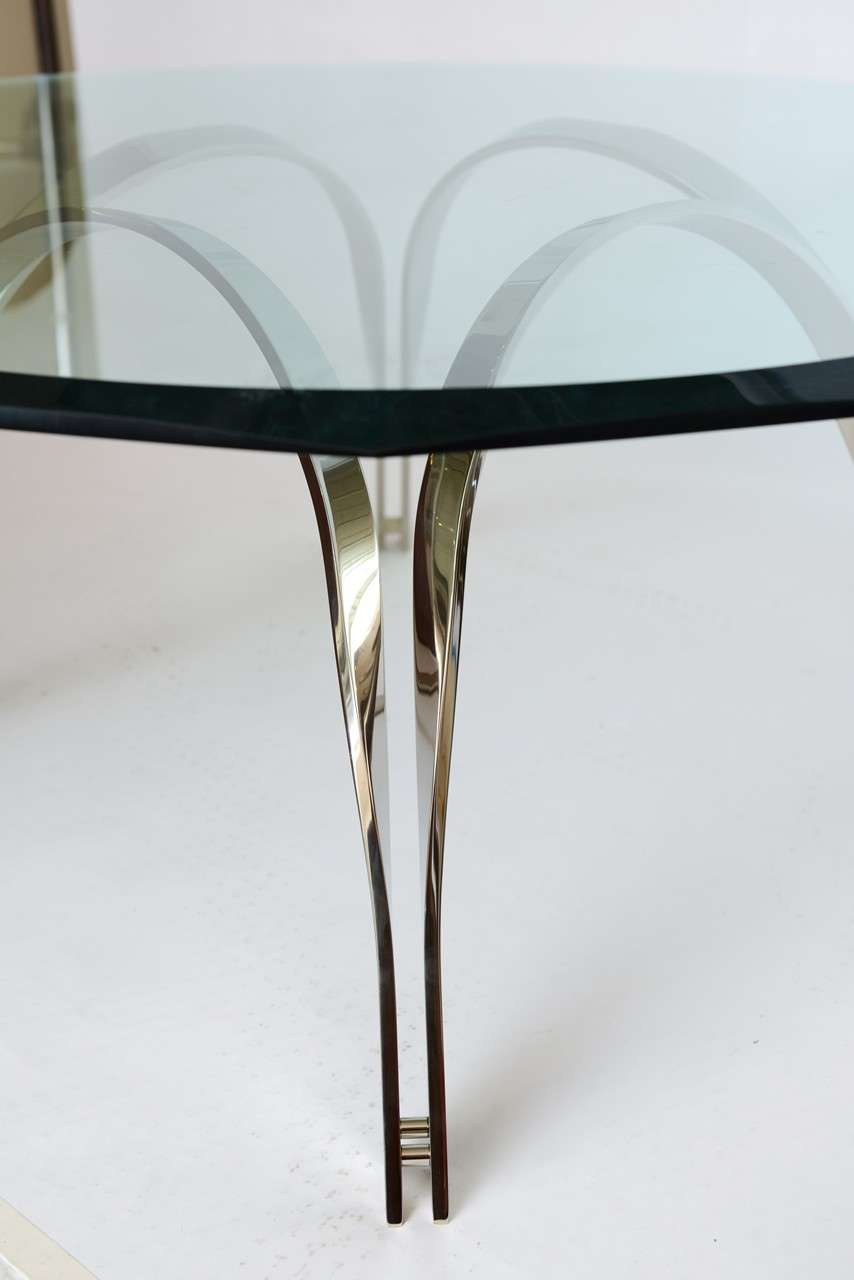 Roger Sprunger Style  Sculptural Silver/Glass Cocktail Table In Excellent Condition For Sale In North Miami, FL