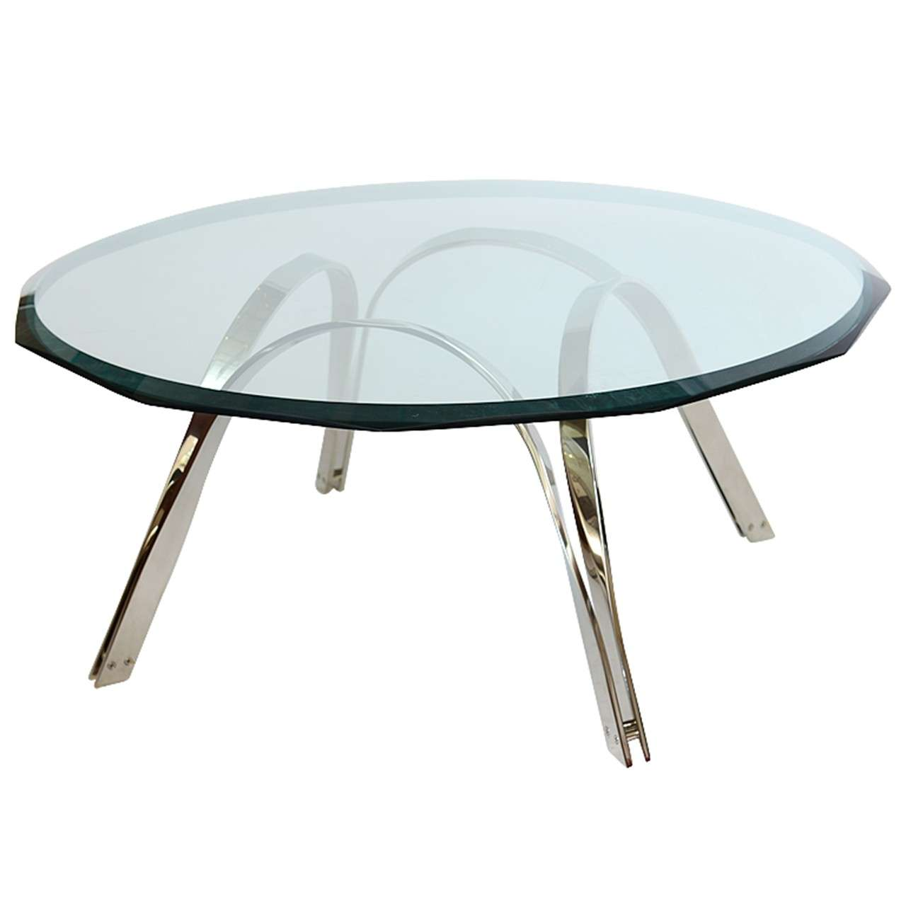 Roger Sprunger Style  Sculptural Silver/Glass Cocktail Table For Sale