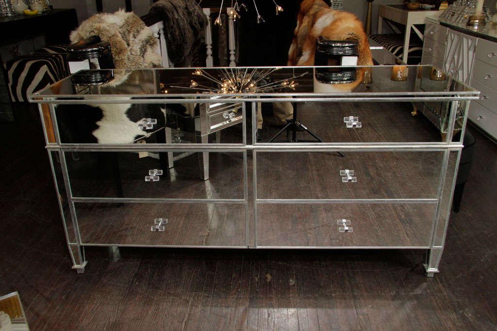 Modern 6-Drawer Silver Trim Mirrored Dresser For Sale