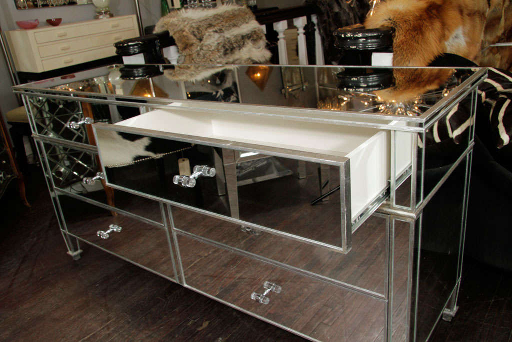 6-Drawer Silver Trim Mirrored Dresser For Sale 3