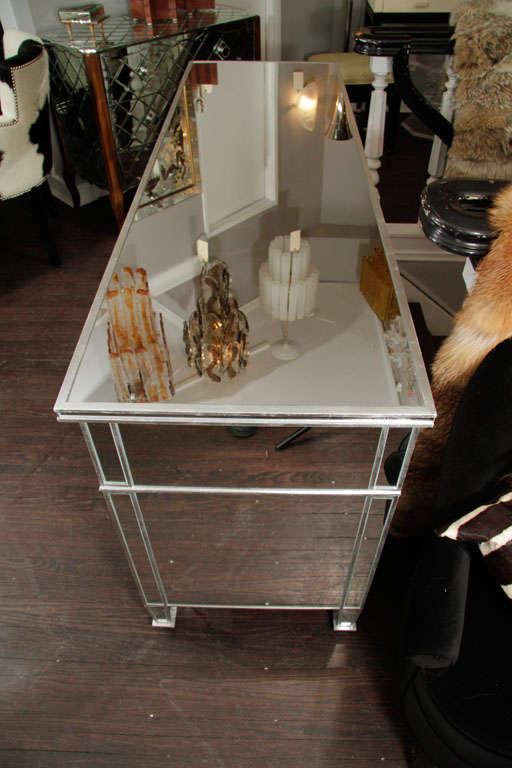 American 6-Drawer Silver Trim Mirrored Dresser For Sale
