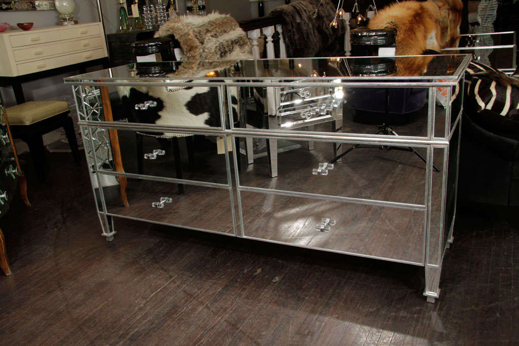 Custom 6-drawer silver trim mirrored dresser with Lucite knobs. Customization is available in different sizes, finishes, and hardware.