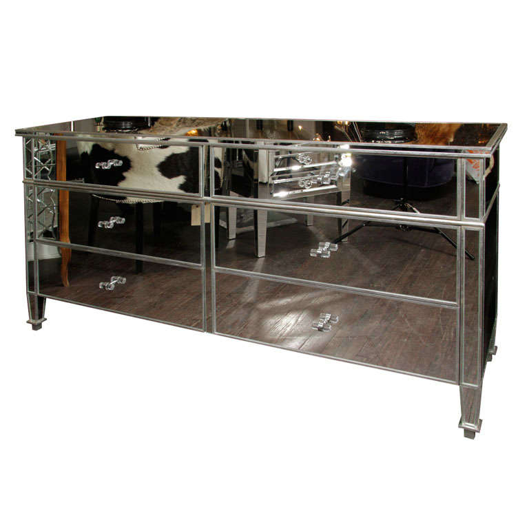 Mirrored Six-Drawer Dresser with Silver Leaf Trim