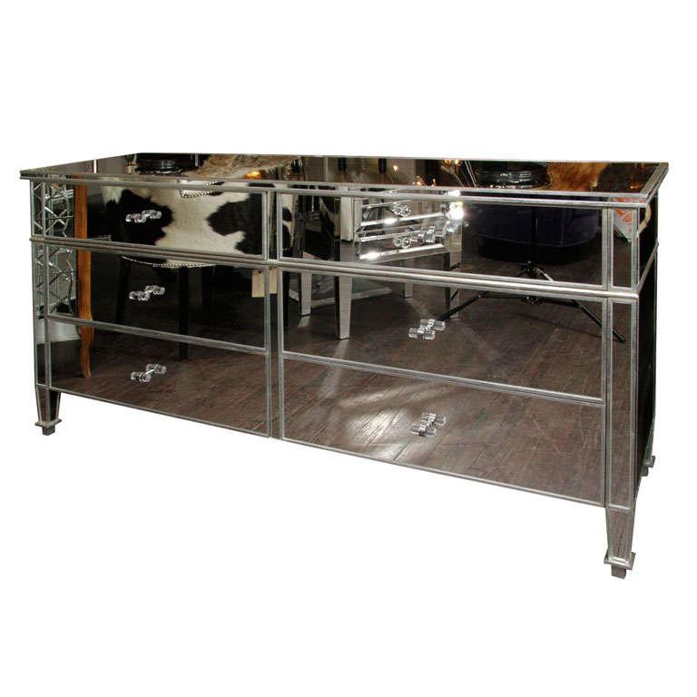 6-Drawer Silver Trim Mirrored Dresser For Sale