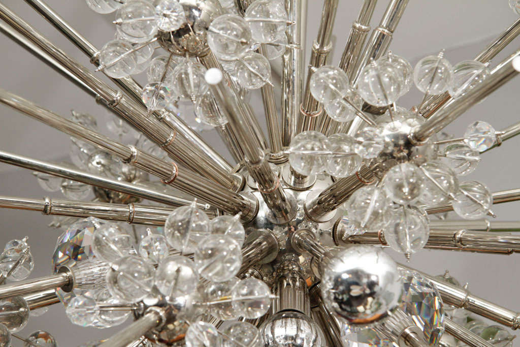 Brass Large Custom Handmade Crystal Sputnik For Sale