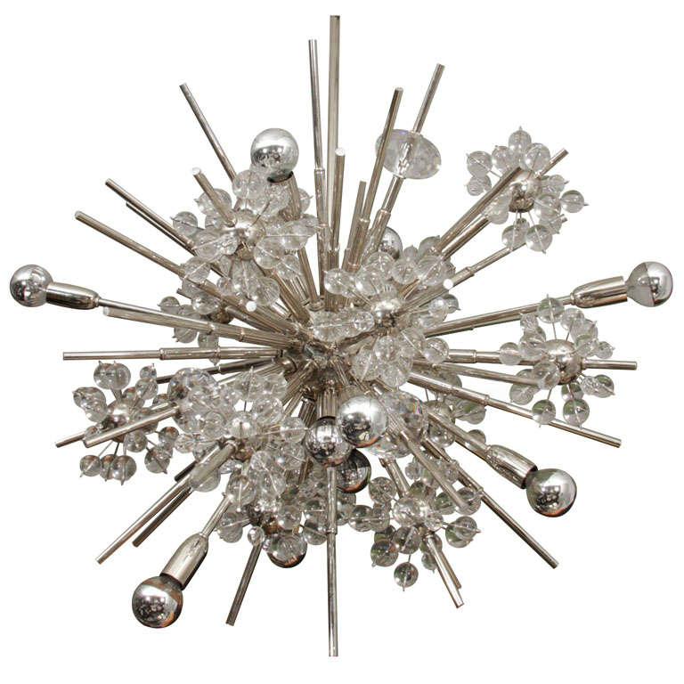 Large Custom Handmade Crystal Sputnik For Sale