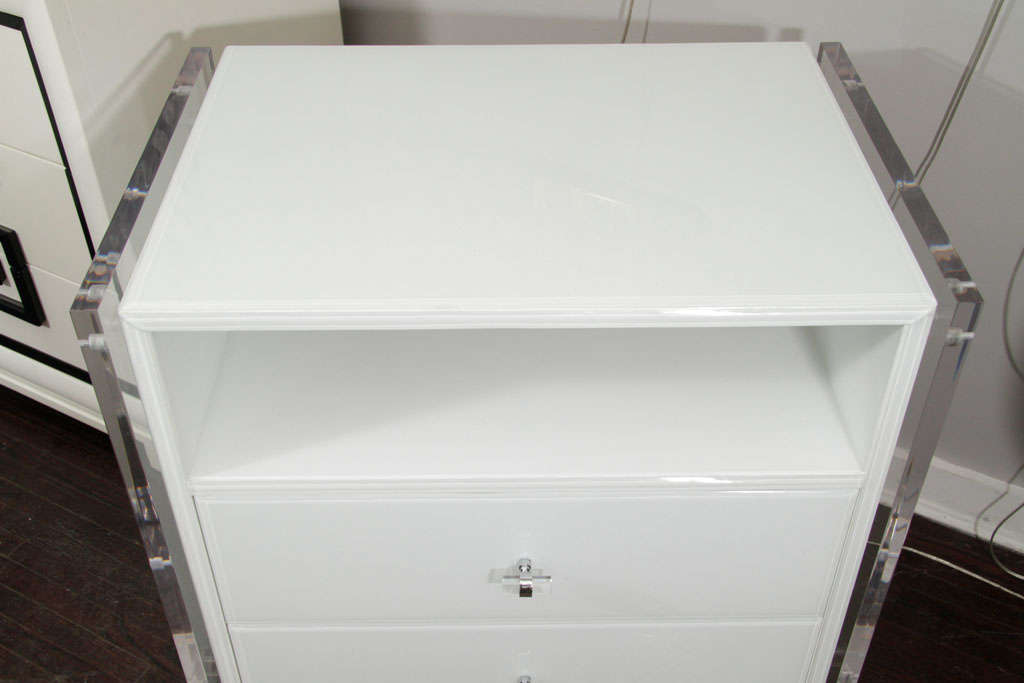 Pair of White Reverse Painted Glass End Tables 5