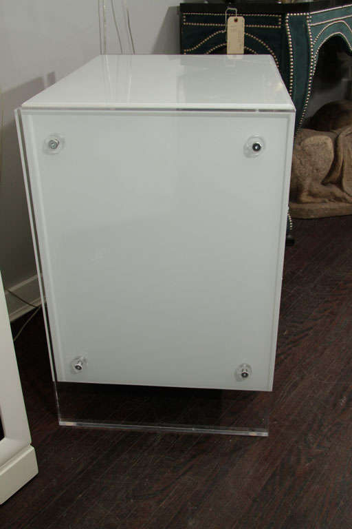 Pair of White Reverse Painted Glass End Tables 7