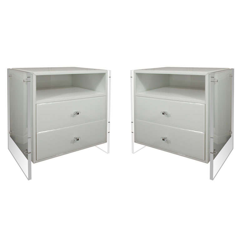 Pair of White Reverse Painted Glass Nightstands with Lucite Side Panels