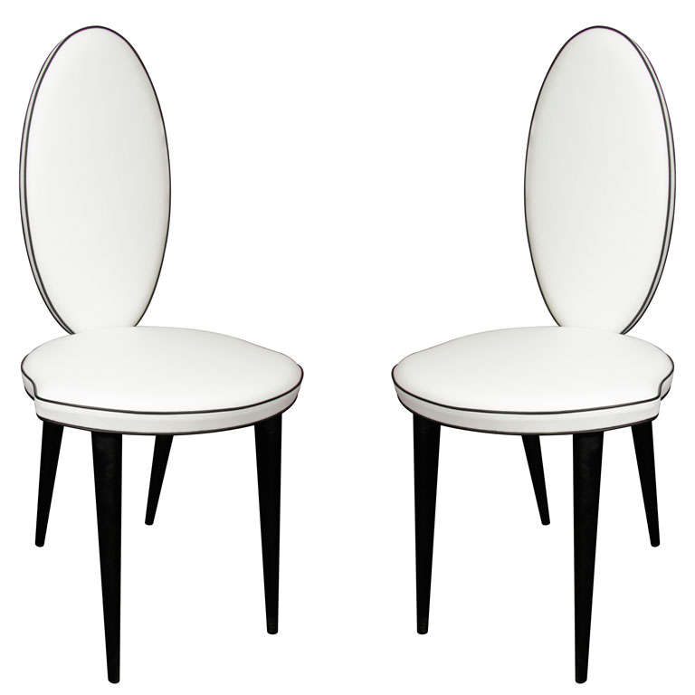 Marvelous White And Black Leather Oval Back Chair 1