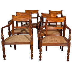 Set of Six Vintage Teak Armchairs